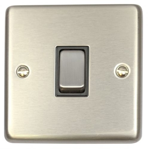 G&H CSS301 Standard Plate Brushed Steel 1 Gang 1 or 2 Way Rocker Light Switch